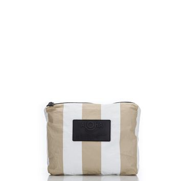 ALOHA Collection - Small Vertical Stripes Pouch | Sand
