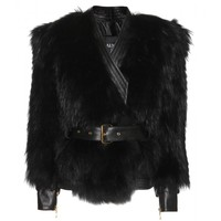 mytheresa.com -  Leather and fur biker jacket  - Luxury Fashion for Women / Designer clothing, shoes, bags