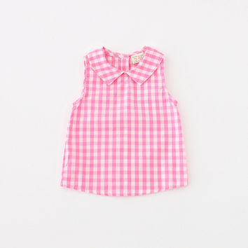 Kids Baby Girls Boys Tops Tees 2016 New Fashion Summer Style Multicolor Plaid Lapel Sleeveless T-shirt Children Clothes