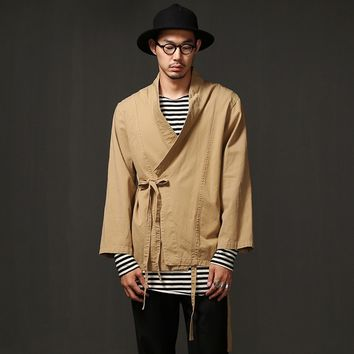 Mens Twill Cotton Kimono Shirt Cardigan at Fabrixquare