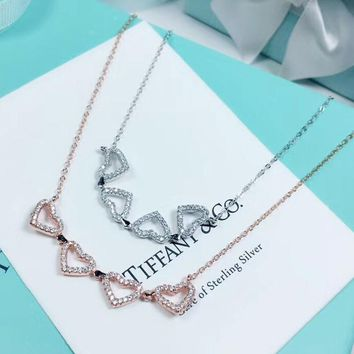 Tiffany Fashion New Diamond Love Heart Pendant Women Sterling Silver Personality Necklace
