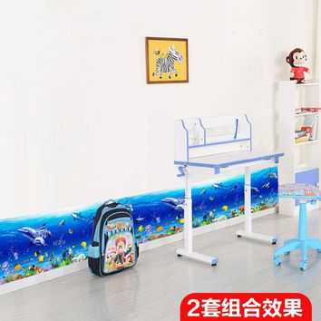 * 3D dolphin ocean fish baseboard Colorful coral Wall Stickers Skirting Home Decor for kids Rooms Bathroom Kitchen wall poster