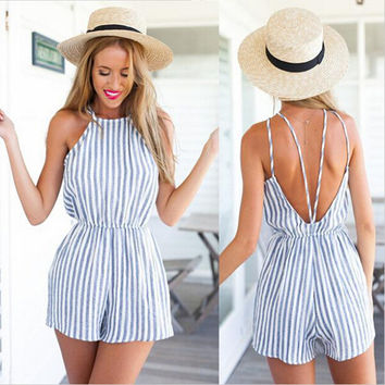Spaghetti Strap Striped Sleeveless Backless Sexy Beach Jumpsuits