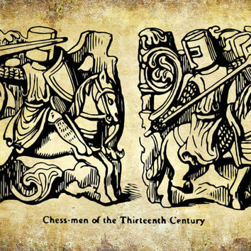 Chess Knights Board Game Patent Print - 13th Century Poster - Board Game - Faux Vintage