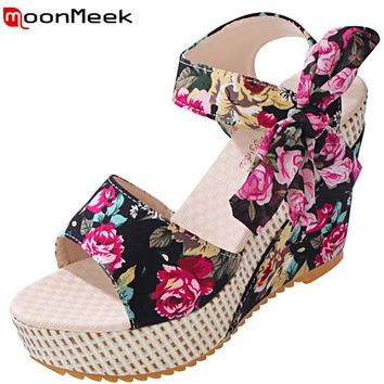 MoonMeek 2017 new arrive women high heels sandals fashion wedges platform lace-up summer shoes bohemia style ladies prom shoes
