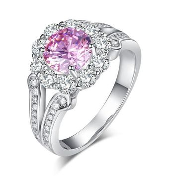 Art Deco Vintage style 925 Sterling Silver Wedding Ring 1.25 Ct Fancy Pink Simulated Diamond Promise Anniversary