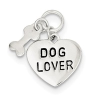 Sterling Silver Dog Lover Pendant QC7820