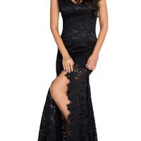 Black Lace Mermaid Sleeveless Prom Dress
