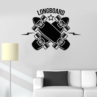 Vinyl Wall Decal Longboard Skateboarding Sports Art Teen Room Stickers Unique Gift (515ig)
