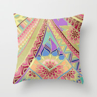 Rise and Shine - Rainbow Hued, Multi-Colored Doodle Throw Pillow by micklyn