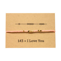 I Love You 143 Friendship Bracelet - Pink