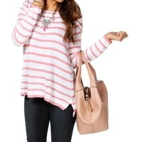Sale-stripe Zipper Back Sweater