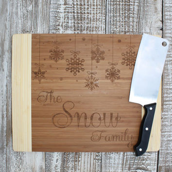 Personalized Snowflake Christmas Cutting Board