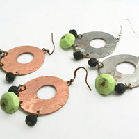 Stamped Bronze Earrings, Embossed Metal Earrings, Metal Boho Jewelry, Beaded Hoop Earrings, Round Earrings, Dangle Metalwork Earrings