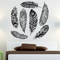 Feather Wall Decals Amulets Vinyl Sticker Boho Bedding Dream Catcher Decal Home Decor Bedroom Bohemian Stiskers Interior Design Art Mural MS759