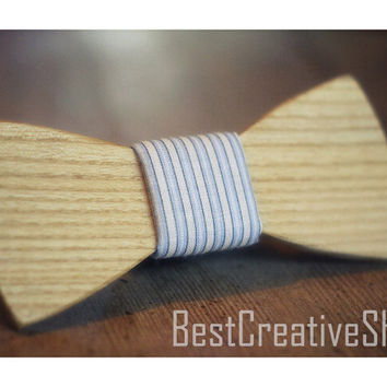 Wooden Bow Tie + Pocket Square - Wood Bow Tie / Wood Bowtie - Boys Bowtie / Wooden Bowtie - Mens Bow Tie / 100% Hand Made - Personal Gift