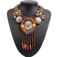 2017 New Design Fashion Vintage Tibetan Button Big Chunky Statement Bib Bead Tassel Pendant Choker Necklace Collar For Women