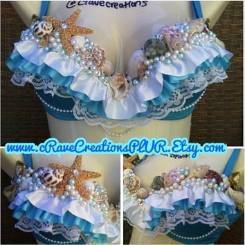 Mermaid Plurmaid Bra Costume with OPTIONAL Torso Wraps and/or Tutu, Rave Bra Outfit Pearls Shells Starfish