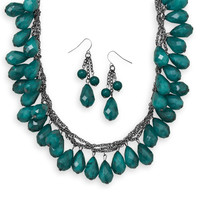 Faceted Green Bead Fashion Necklace and Earring Set