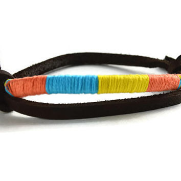 Wrapped Leather Cord Bracelet, Single Slide Knot Bracelet Wrapped with Orange, Blue and Yellow String