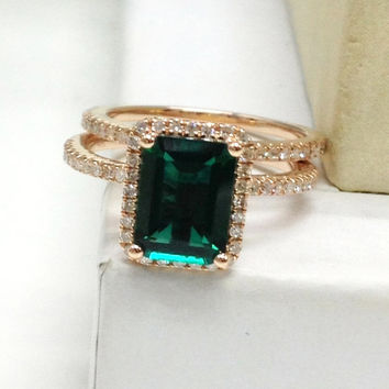 Diamond Wedding Ring Set!Emerald Engagement Ring 14K Rose Gold!6x8mm Emerald Cut Treated Green Gemstone,Wedding Bridal Ring,Fashion Fine