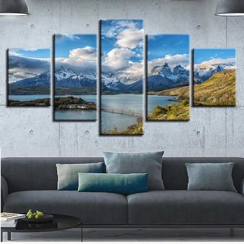 Modular Canvas Painting Wall Art Frame Prints 5 Pieces Mountains And Rivers Pictures Torres del Paine National Park Poster Decor