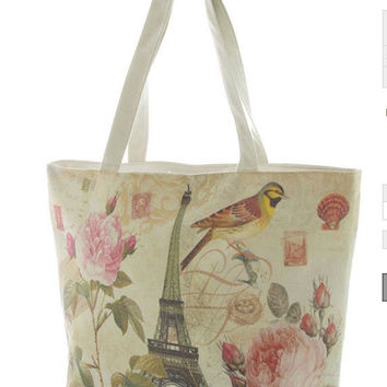 Summer Tote Bags Paris Print Canvas Teacher Gift for mom - By PiYOYO