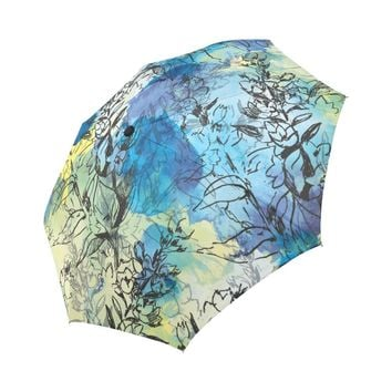 floral pattern on abstract watercolor Auto-Foldable Umbrella