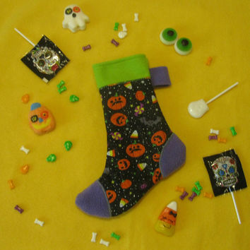 Witch's Sock - Halloween Candy and Treat Stocking - Pumpkins and Candy - Black Green Purple Stocking