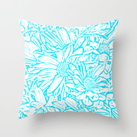 Daisy Daisy in Southwest Turquoise Throw Pillow by Lisa Argyropoulos