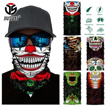 3D Seamless Skull Joker Clown Tube Neck Gaiter Warmer Scarf Face Mask Halloween Headband Headwear Bandana Sun UV Protection Mask
