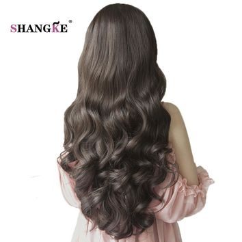 SHANGKE 26'' Long Wavy Half Wigs For Black Women Natural Heat Resistant Synthetic Wigs For African Americans Natural Women Hair