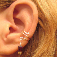 Non Pierced Sterling Ear Cuff Garnet and Citrine Gemstones Cartilage