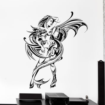 Vinyl Wall Decal Naked Woman with Dragon Fantasy Art Stickers Mural Unique Gift (ig4979)
