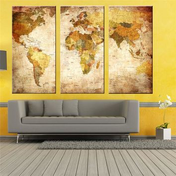 Modern Style 3 Panel Vintage World Map Canvas Painting Oil Paintings Print On Canvas Home Decor Wall Art Wall Picture No Frame