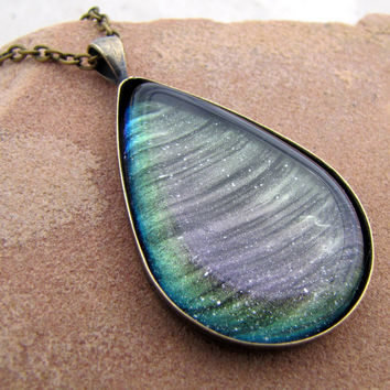Large Teardrop Necklace - Northern Lights Glass Necklace - Purple Blue Green Color Shifting Night Sky