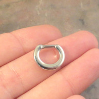 14 or 16 Gauge Silver Septum Ring Clicker Bull Ring Nose Daith Piercing