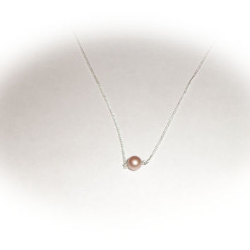 Swarovski Round Powder Almond Sterling Silver Chain Necklace