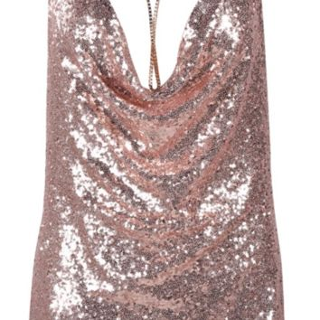 'Rourke' Sequined Mini Dress - Rose Gold