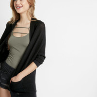 Textured Drop Shoulder Open Cover-Up