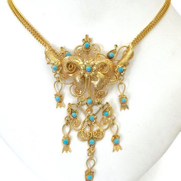 Spectacular Pendant Necklace, Turquoise Glass Beads, Floriated Design, Repousse Gold Tone Ornamentation, Scrolling Wire Work