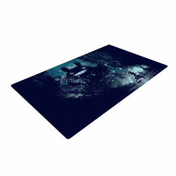 "Frederic Levy-Hadida ""The Big Friend"" Fantasy Blue Woven Area Rug"