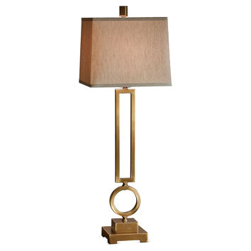 Dessau Home Ant. Brass Rect/Circle Lamp-  - Ky001