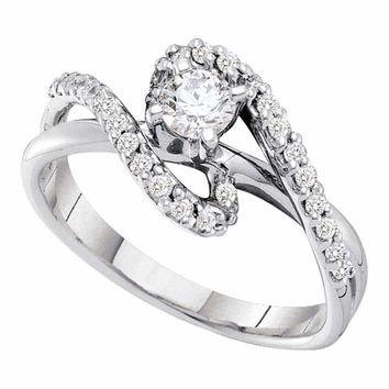 14kt White Gold Women's Round Diamond Solitaire Swirl Bridal Wedding Engagement Ring 1-2 Cttw - FREE Shipping (US/CAN)