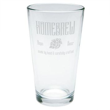 CREYON Homebrew Hops Beer Hand Crafted Etched Pint Glass