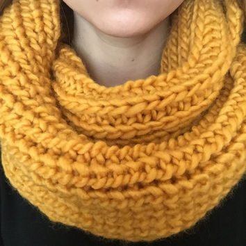 Chunky Scarf • Infinity Scarf • Fall Knit Scarf • Thick Handmade Scarf • Yellow Wool/Acrylic Blend • MINI STANDARD Knit • Mustard Yellow •