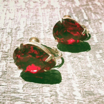 Miriam Haskell Red Rhinestone Earrings Dangle Earring Vintage Jewelry Designer marked
