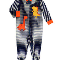 Dino Striped Footed Onesuit