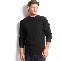 Polo Ralph Lauren Waffle Knit Crew Neck Top, M, Polo Black