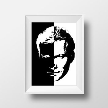 Star Trek Print, Let That Be Your Last Battlefield, Star Trek Fan Art, Captain Kirk, Black and White Print